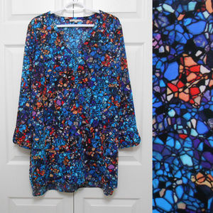 Stained Glass Print Boho Tunic Blouse Top XL